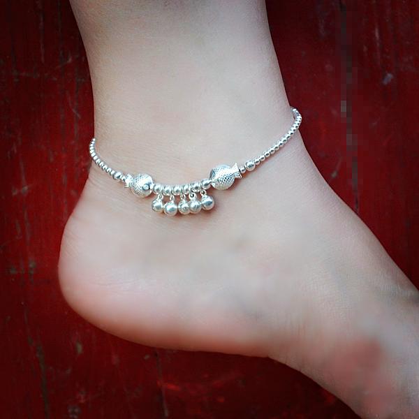 腳鏈 S925銀腳鏈 親吻魚雙魚座多墜鈴鐺腳鏈 銀珠腳環中秋禮物女 免運