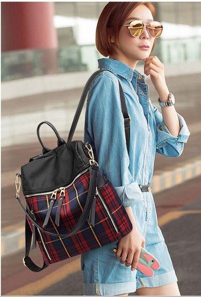 格子後背包女韓版時尚大容量旅行包休閑撞色兩用背包大包