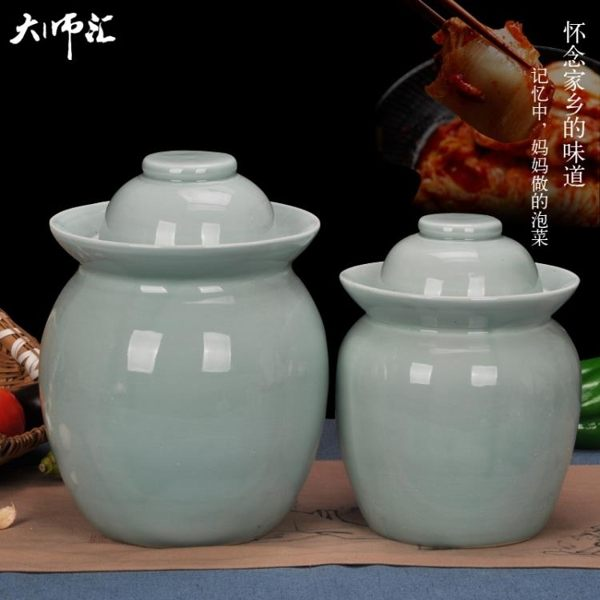 618年㊥大促 景德鎮陶瓷泡菜壇密封蓋雙蓋環保泡菜壇子儲物罐四川泡菜腌菜壇子