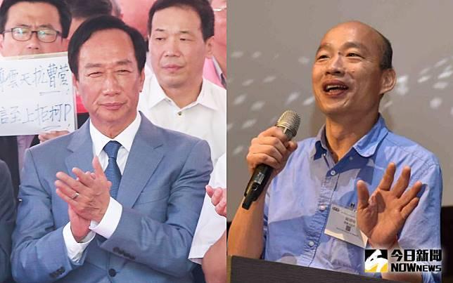 鴻海集團創辦人郭台銘與高雄市長韓國瑜。