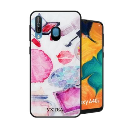 VXTRA Samsung Galaxy A40s 鑽石紋防滑全包保護殼(時尚彩妝)