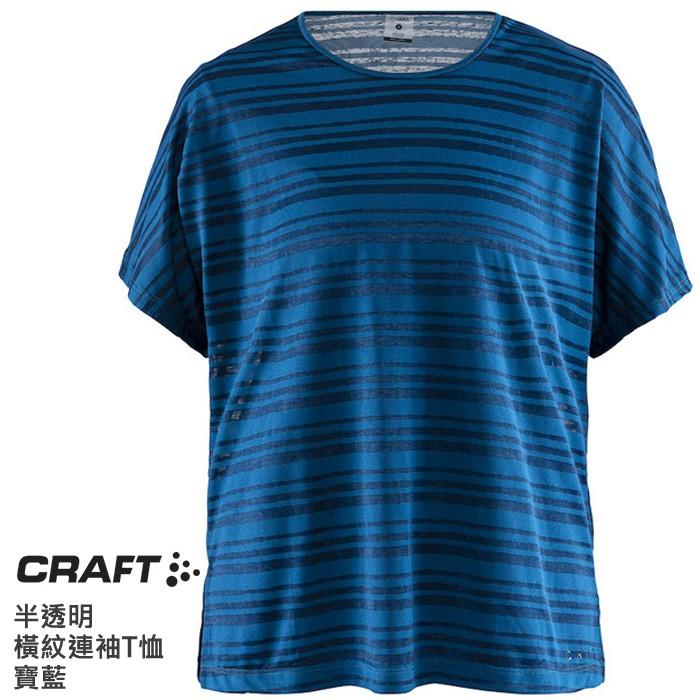CRAFT 瑞典 女 半透明橫紋連袖T恤 排汗衣 寶藍 1907039373000 登山 健行 運動 慢跑 綠野山房