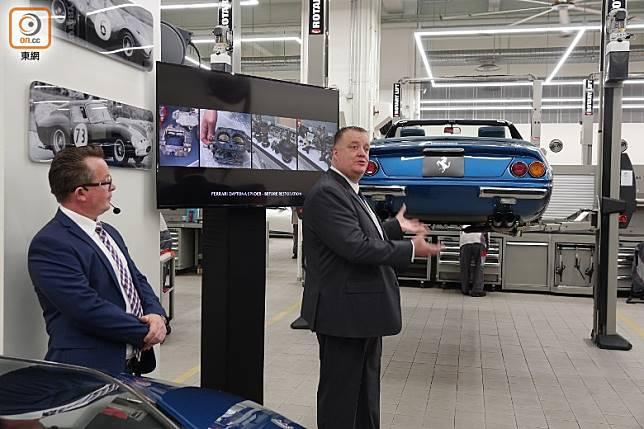 目前已有一定數目的經典法拉利在這裡進行了嚴謹復修,獲發證書,包括一輛右軚Daytona Spyder跑車,全球當年只生產了7輛。(張錦昌攝)