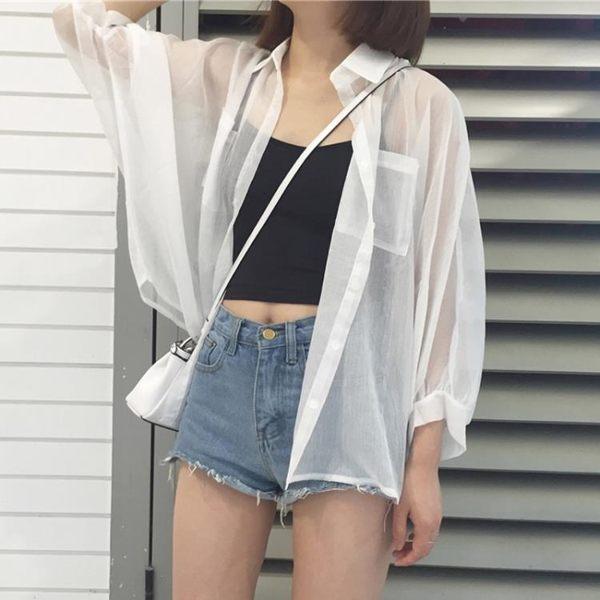 夏季女裝韓版寬鬆很仙的雪紡衫防曬衣外套女防曬襯衫開衫雪紡上衣