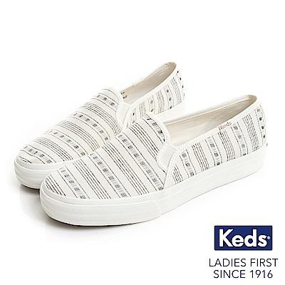 Keds DOUBLE DECKER 復古風條紋休閒便鞋-奶油白