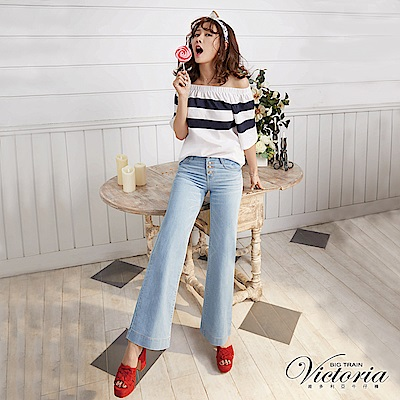 Victoria 中腰淺藍排釦寬褲-女-淺藍