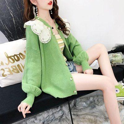 韓國韓系實拍甜美毛衣開衫外套女早秋新款娃娃領針織衫很仙的上衣2F014.6176愛尚布衣