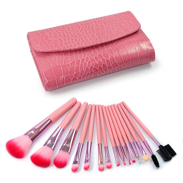 幸福揚邑》專業彩妝抗菌刷毛木柄化妝刷具皮革化妝包15件組-玫色