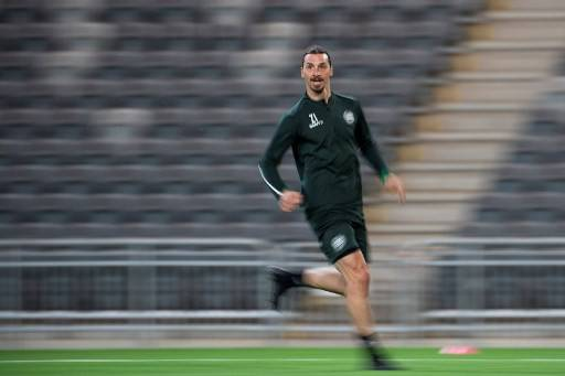 AC Milan's Swedish forward Zlatan Ibrahimovic takes part in a training session of Swedish league team Hammarby IF at Tele 2 Arena on April 17, 2020 in Stockholm.Competitive and professional sport can resume from June 14, the Swedish government said Friday, but games would have to be played mostly without an audience.