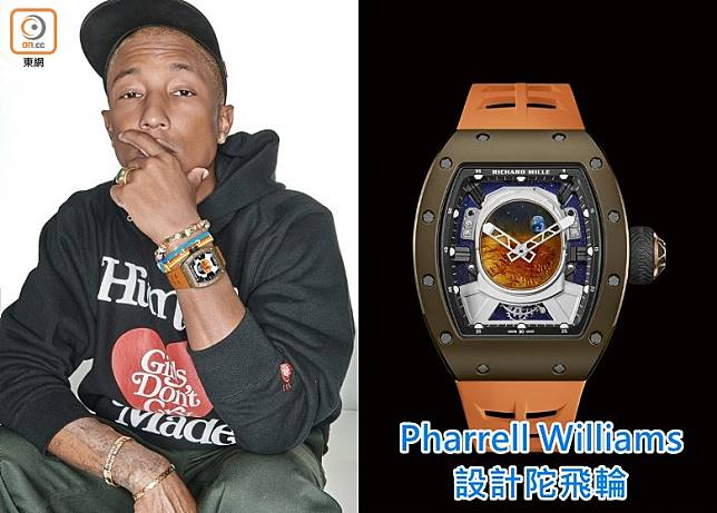 Pharrell Williams跟Richard Mille合作設計RM52-05 Pharrell Williams陀飛輪腕錶,限量30枚。錶盤上的太空人頭盔倒影圖案,取材自人類首次向火星發射的水手9號(Mariner 9)探測器命名的水手號峽谷(Valles Marineris)。(互聯網)