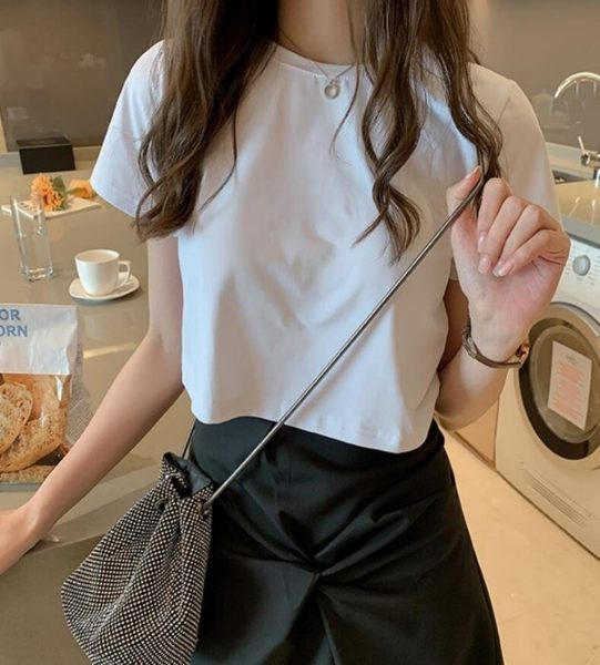 短版寬鬆上衣+不規則扭結裙2件套裝 CC KOREA ~ Q23706