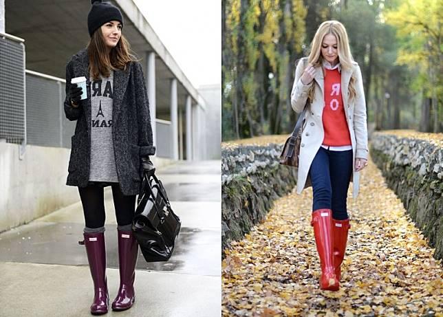 就算陽光普照無落雨,HUNTER橡膠靴款其實亦一樣可以當普通秋冬靴款去配襯不同造型。(互聯網)