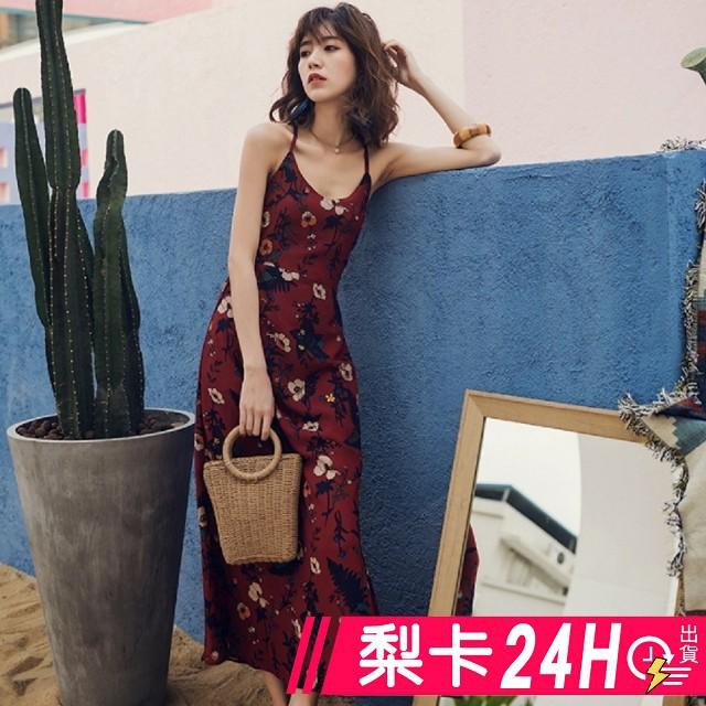 【現貨24H】梨卡 - 波西米亞泰國度假性感印花後綁帶露背洋裝連衣裙長洋裝連身長裙沙灘裙C6313