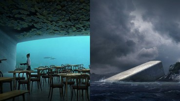 傾斜插入海中貌似「荒廢遺跡」 挪威打造全景海底餐廳成為海洋生物的最愛