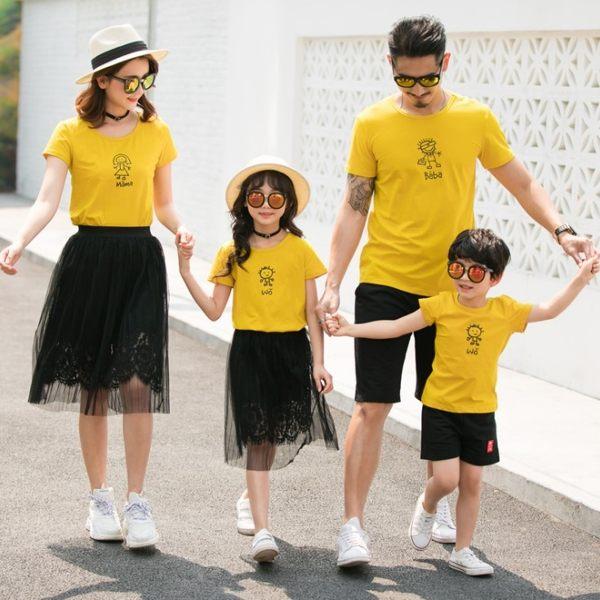 ★甜蜜蜜親子裝★韓版JX-S9036★《手繪娃娃-黃色》短袖親子裝♥情侶裝