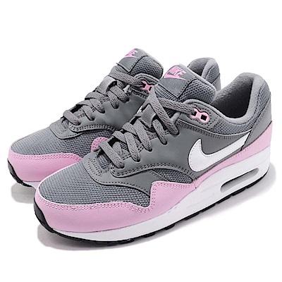 品牌: NIKE型號: 807605-007品名: Air Max 1 GS配色: 灰色 紫色特點: 低筒 運動 氣墊 避震 經典 球鞋 穿搭 大童 灰 紫參考童鞋尺寸表