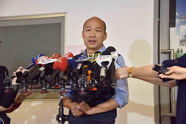 ▲高雄市長韓國瑜「台灣沒有軍法說」今天總統蔡英文嚴正要求韓國瑜收回。對此,韓國瑜表示,沒有收回的必要。(高市府提供)