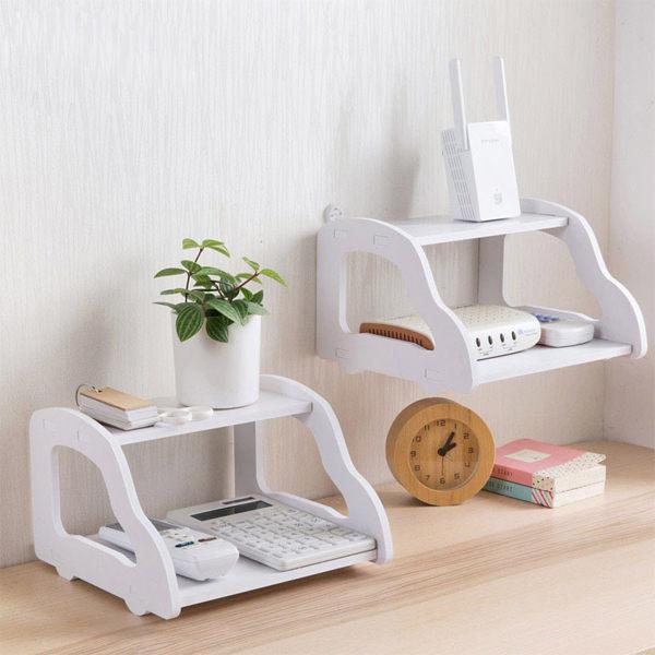 白色歐風 汽車造型雙層電視機盒架 電話壁掛客置物架 簡約隔板書架 居家用品【SV6739】BO雜貨