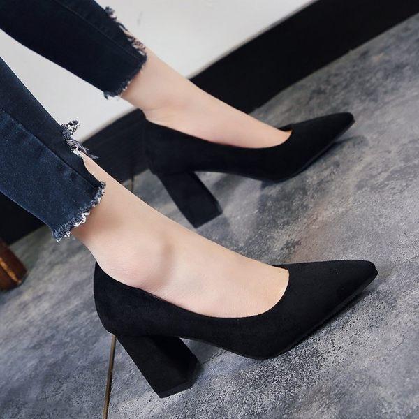 2019春秋季新款韓版尖頭淺口絨面單鞋粗跟高跟鞋中跟百搭工作鞋女