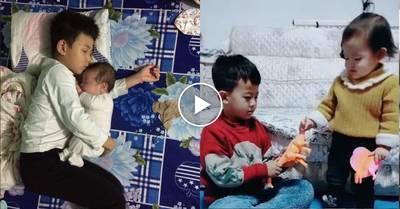 Tan chảy bộ ảnh anh trai chăm em: Đời này kiếp này phải đẻ cho con một cậu anh trai