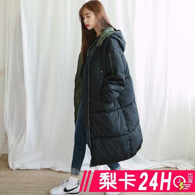 【現貨24H】梨卡 -【韓國製】加棉仿羽絨棉質情侶可穿風衣外套大衣正韓國代購100%長版外套A817-3