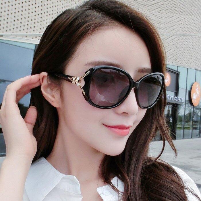 糖衣子輕鬆購【WE0140】經典百搭時尚狐狸頭鑲鑽太陽眼鏡女士大框偏光墨鏡