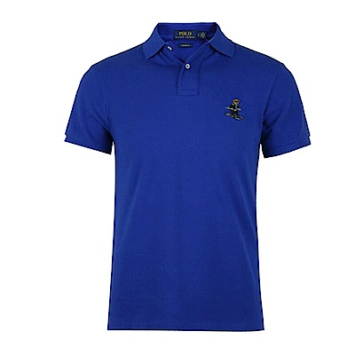 Polo Rlaph Lauren 年度熱銷限定泰迪熊刺繡短袖Polo衫-藍色