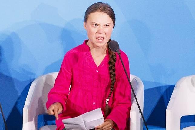 Aktivis perubahan iklim berusia remaja Greta Thunberg saat berpidato di KTT Aksi Iklim di PBB New York pada Senin, 23 September 2019. EPA-EFE