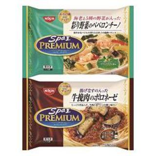 日清 スパ王プレミアム 牛挽肉のボロネーゼ/彩り野菜のペペロンチーノ