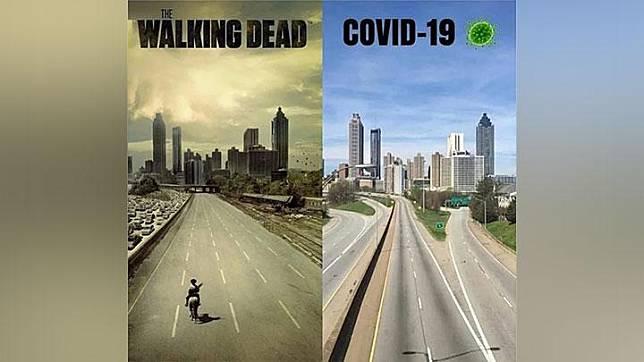 Meme kondisi jalan tol yang lengang di Atlanta, Amerika Serikat yang mirip poster serial The Walking Dead. Kota Atlanta meminta warganya untuk kerja di rumah untuk menekan penularan virus corona. 9gag/Twitter-Lori Kristen