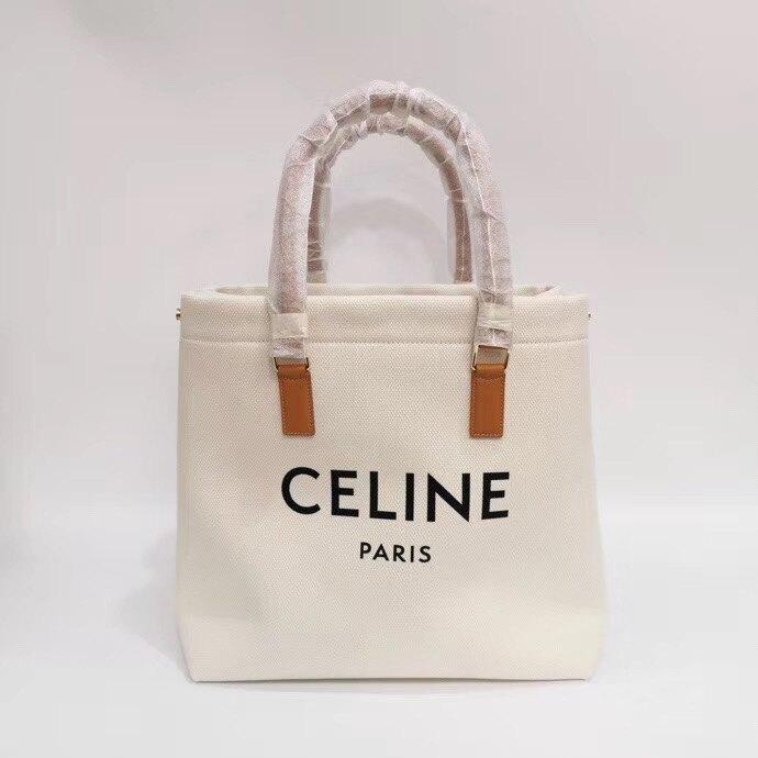 【Chiu189英歐代購】CELINE paris logo白色 帆布托特包 焦糖色皮革 手提 購物包