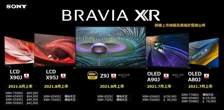 Sony 全新 BRAVIA XR 全系列於即日起陸續在台上市,建議售價及重點規格可參考官方網站或洽全台 Sony 直營通路。