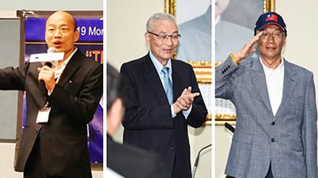 高雄市長韓國瑜、國民黨主席吳敦義、鴻海董事長郭台銘。( 圖 / NOWnews 資料照 )