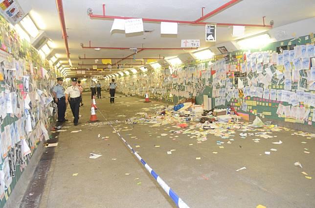 大埔的「連儂隧道」留下一地垃圾。