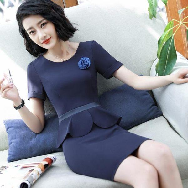 職業套裝女夏2019新款短袖假兩件連衣裙珠寶美容師工作服裙子女夏