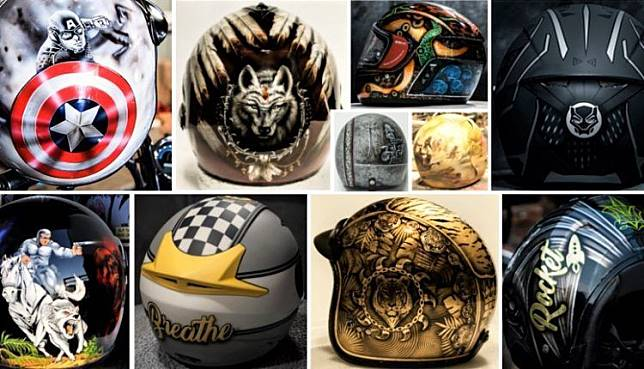 Kumpulan desain helm kustom dari Eimor Customs