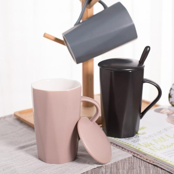 創意韓版陶瓷咖啡杯北歐馬克杯帶蓋勺潮流家用情侶喝水杯子女學生 挪威森林