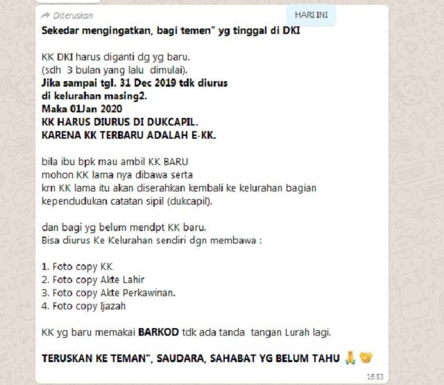 Tangkapan layar pemberitaan palsu dari pesan berantai WhatsApp. foto: Medcom.id
