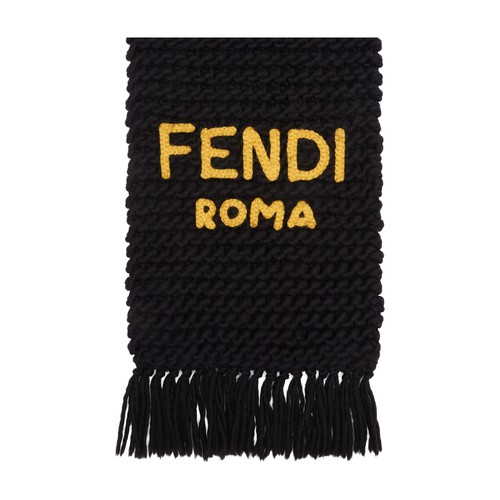 Rectangular scarf made of yellow wool and knitted entirely by hand. Embellished with fringes and Fendi Roma lettering in black knit stitched onto the end. Made in Italy