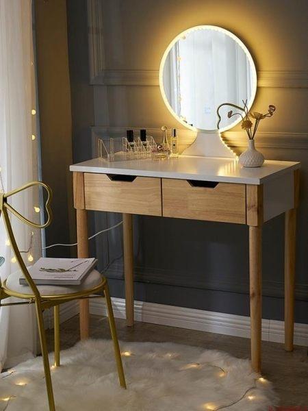 梳妝台 北歐梳妝台臥室小經濟型網紅化妝台ins帶燈現代簡約化妝桌多功能T