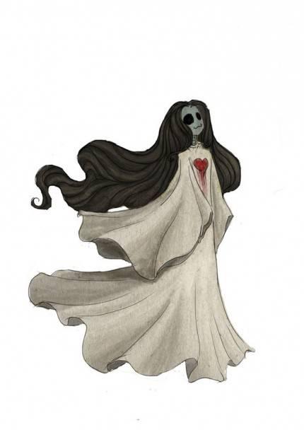 Ilustrasi hantu berambut panjang