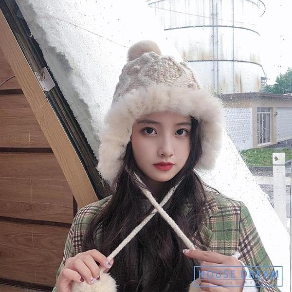冬帽 正韓毛線帽子女秋冬季東北雷鋒帽保暖護耳加絨兔毛球防風針織帽潮 HD
