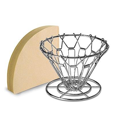 [Bafin House] CUG 不鏽鋼摺疊式錐形濾杯+日本三洋4人份無漂白濾紙100張