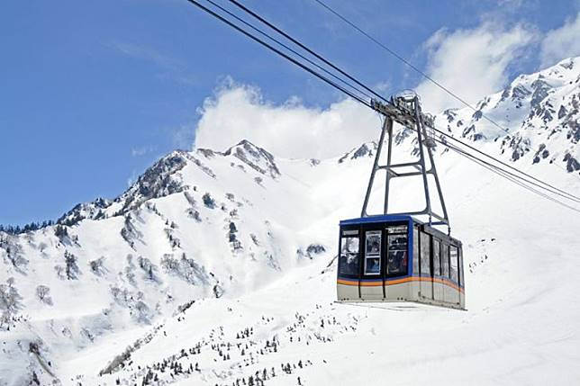 在黑部平可搭乘空中纜車往海拔2,316米的大觀峰。(互聯網)
