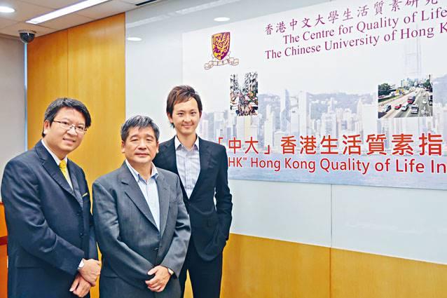 ■中文大學生活質素研究中心昨日公布去年的「中大香港生活質素指數」。