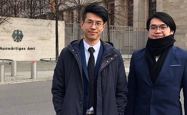 棄保潛逃的本土民主前線黃台仰(左)和李東昇,去年獲德國給予難民身分。金融時報圖片