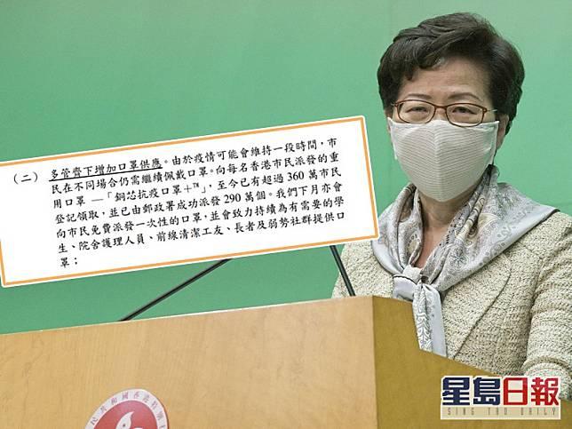 林鄭月娥透露將於下月向市民免費派發一次性的口罩。資料圖片
