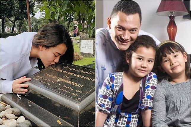 Mengenang 8 Tahun Kepergian Adjie Massaid, Aaliyah Massaid Datangi Makam Sang Ayah, Cium Nisan Hingga Tulis Pesan Haru