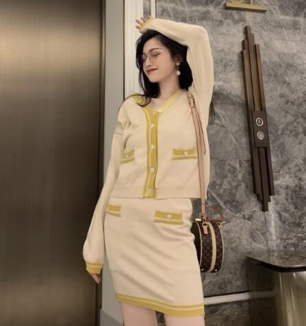 VK精品服飾 韓系針織v領上衣撞色半身裙套裝長袖裙裝