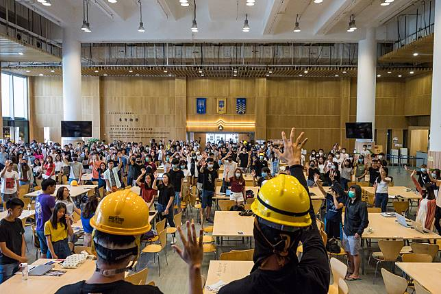 Students occupy Chinese University of Hong Kong's Maxim's canteen on Sept. 23. Photographer: Billy H.C. Kwok/Getty Images
